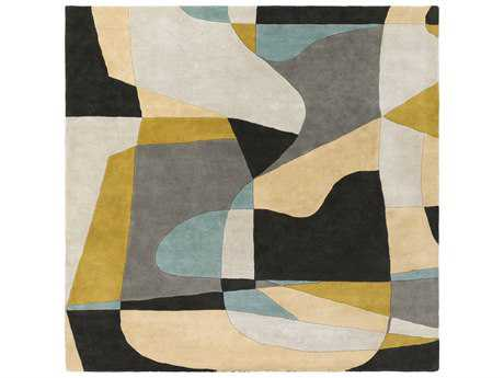 Surya Forum Square Olive, Teal & Medium Gray Area Rug