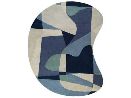 Surya Forum Kidney Teal, Navy & Denim Area Rug