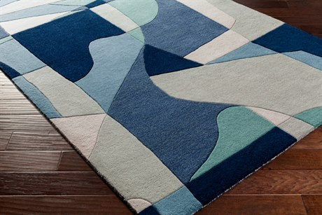Surya Forum Rectangular Teal, Navy & Denim Area Rug