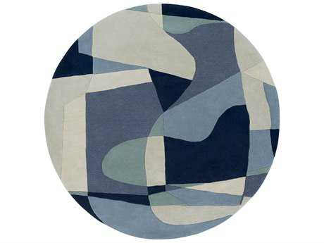 Surya Forum Round Teal, Navy & Denim Area Rug