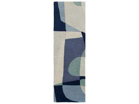 Surya Forum Rectangular Teal, Navy & Denim Runner Rug