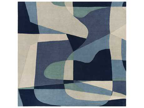 Surya Forum Square Teal, Navy & Denim Area Rug