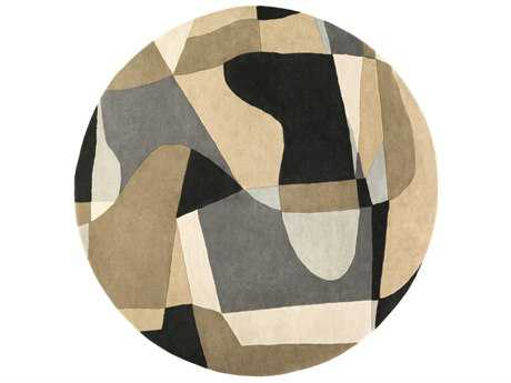 Surya Forum Round Medium Gray, Light Gray & Beige Area Rug