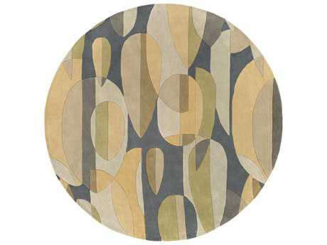 Surya Forum Round Teal, Sea Foam & Tan Area Rug