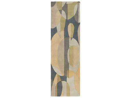 Surya Forum Rectangular Teal, Sea Foam & Tan Runner Rug