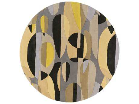 Surya Forum Round Black, Tan & Ivory Area Rug