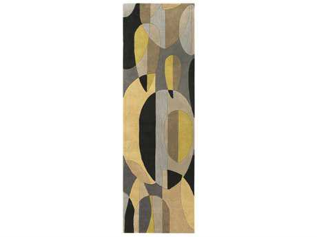 Surya Forum Rectangular Black, Tan & Ivory Runner Rug