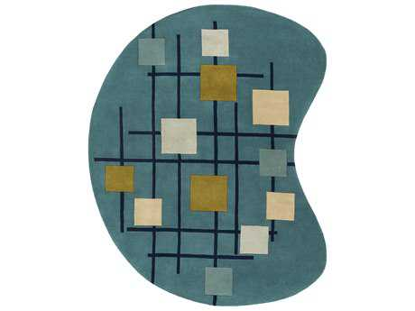 Surya Forum Kidney Teal, Dark Blue & Sage Area Rug