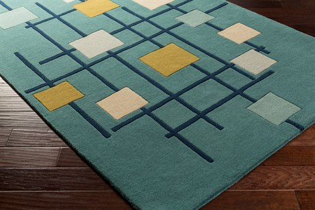 Surya Forum Rectangular Teal, Dark Blue & Sage Area Rug