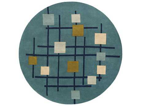 Surya Forum Round Teal, Dark Blue & Sage Area Rug