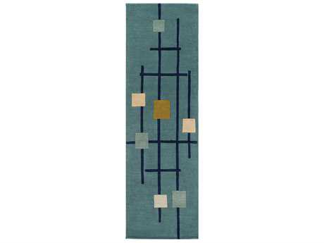 Surya Forum Rectangular Teal, Dark Blue & Sage Runner Rug