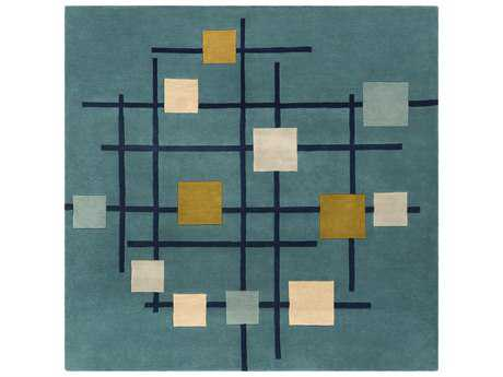 Surya Forum Square Teal, Dark Blue & Sage Area Rug