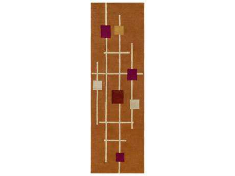 Surya Forum Rectangular Burnt Orange, Rust & Cream Runner Rug