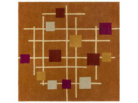 Surya Forum Square Burnt Orange, Rust & Cream Area Rug