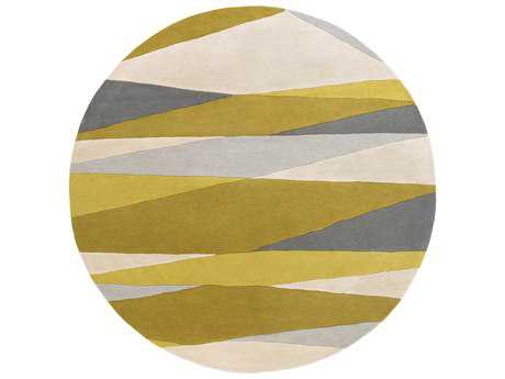 Surya Forum Round Cream, Lime & Mustard Area Rug