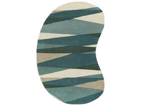 Surya Forum Kidney Sea Foam, Dark Green & Teal Area Rug