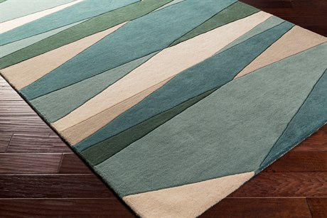 Surya Forum Rectangular Sea Foam, Dark Green & Teal Area Rug