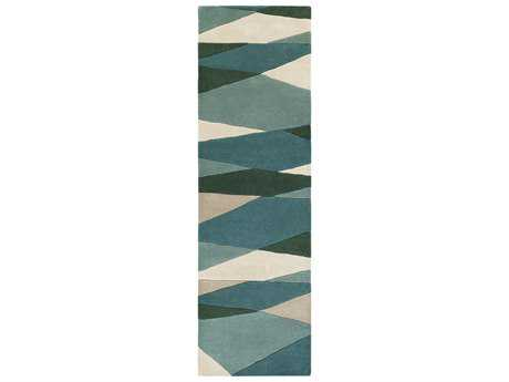 Surya Forum Rectangular Sea Foam, Dark Green & Teal Runner Rug