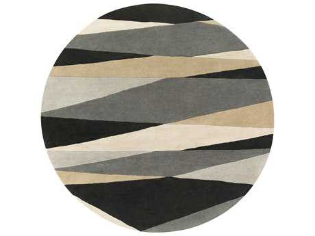 Surya Forum Round Black, Cream & Taupe Area Rug