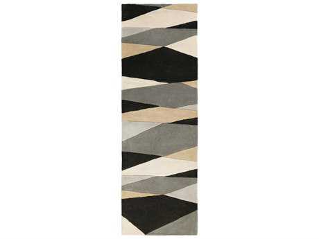 Surya Forum Rectangular Black, Cream & Taupe Runner Rug