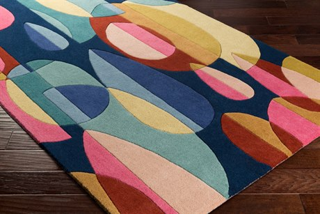 Surya Forum Rectangular Bright Pink, Navy & Teal Area Rug