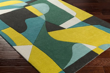 Surya Forum Rectangular Teal, Emerald & Lime Area Rug