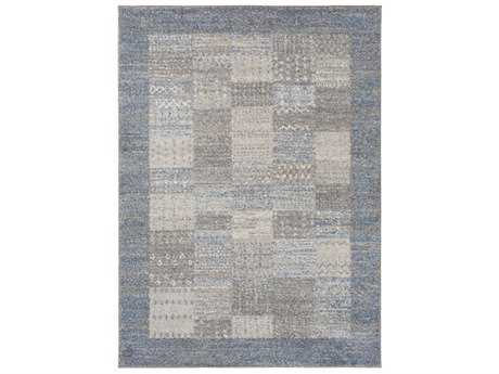 Surya Fowler Rectangular Bright Blue, Medium Gray & Ivory Area Rug