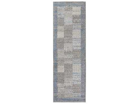 Surya Fowler 2'6'' x 8' Rectangular Bright Blue, Medium Gray & Ivory Runner Rug