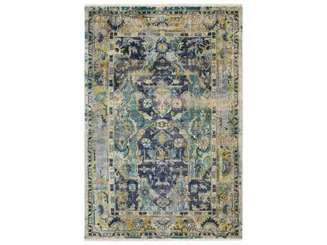 Surya Festival Rectangular Blue & Teal Gray Area Rug