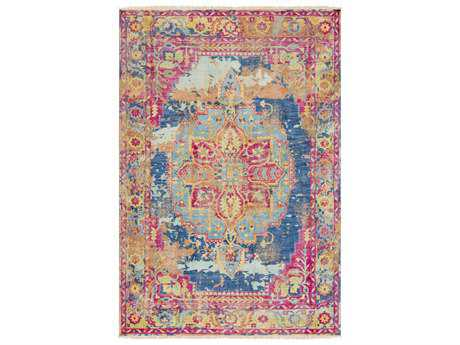 Surya Festival Rectangular Blue & Pink Yellow Area Rug