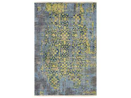 Surya Festival Rectangular Blue & Yellow Gray Area Rug