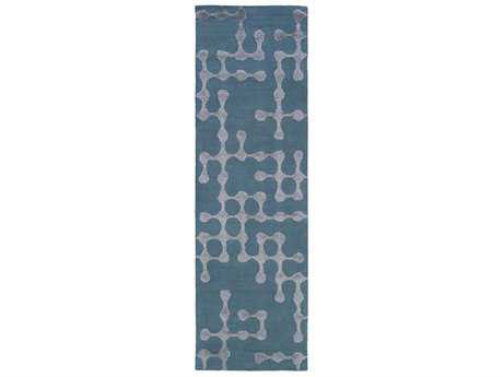 Surya Gable Rectangular Bright Blue & Sage Runner Rug