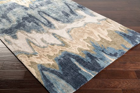 Surya Gemini Rectangular Beige, Denim & Navy Area Rug
