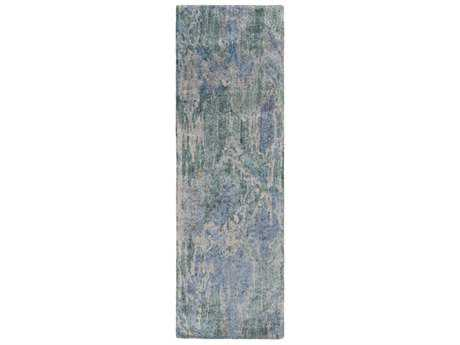 Surya Gemini 2'6'' x 8' Rectangular Emerald, Dark Blue & Medium Gray Runner Rug