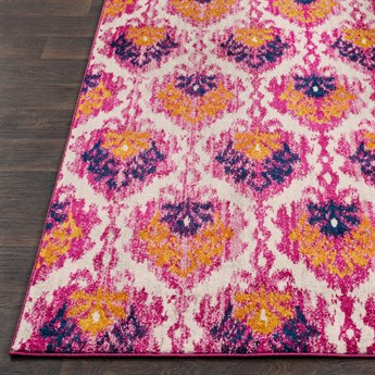 Surya Harput Rectangular Ivory, Bright Pink & Burnt Orange Area Rug