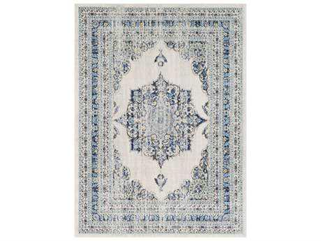 Surya Harput Rectangular Ivory, Blue & Light Blue Area Rug
