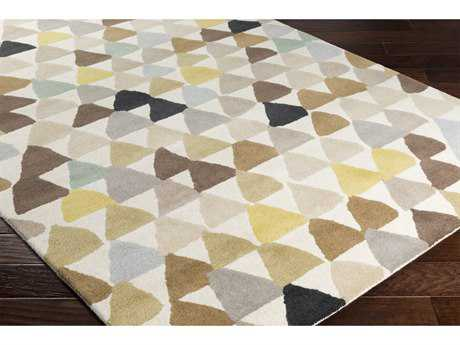 Surya Harlequin Rectangular Bright Yellow, Khaki & Camel Area Rug