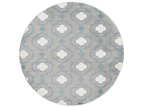 Surya Horizon 7'10'' Round Charcoal, Denim & Cream Area Rug