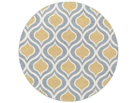Surya Horizon 7'10'' Round Mustard, Denim & Cream Area Rug