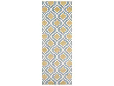 Surya Horizon 2'7'' x 7'3'' Rectangular Mustard, Denim & Cream Runner Rug