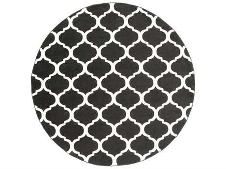 Surya Horizon 7'10'' Round Black & Cream Area Rug