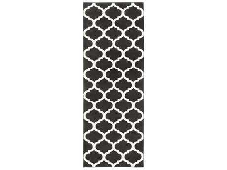 Surya Horizon 2'7'' x 7'3'' Rectangular Black & Cream Runner Rug