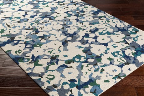 Surya Inman Rectangular Cream, Charcoal & Dark Blue Area Rug