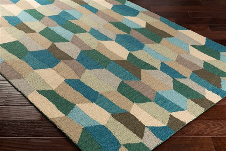Surya Inman Rectangular Teal, Aqua & Dark Green Area Rug