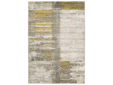 Surya Jax Rectangular Light Gray & Gold Area Rug
