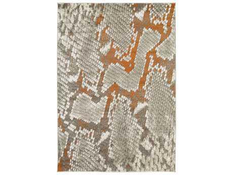 Surya Jax Rectangular Light Gray & Burnt Orange Area Rug