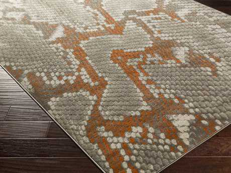 Surya Jax Rectangular Light Gray & Burnt Orange Area Rug