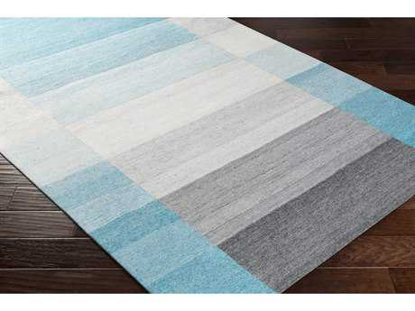 Surya Josef Rectangular Aqua, Teal & Medium Gray Area Rug