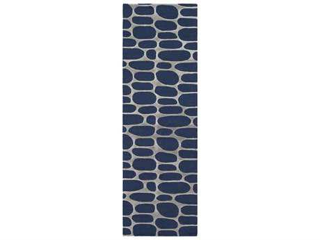 Surya Kennedy 2'6'' x 8' Rectangular Navy & Light Gray Runner Rug
