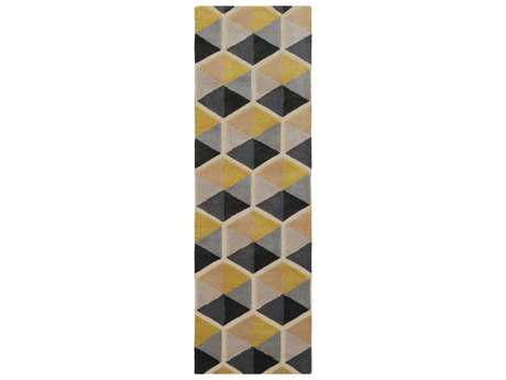 Surya Kennedy 2'6'' x 8' Rectangular Taupe, Camel & Bright Yellow Runner Rug